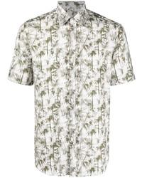 weißes bedrucktes Kurzarmhemd von Canali