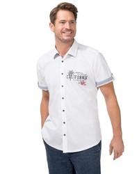 weißes bedrucktes Kurzarmhemd von Classic