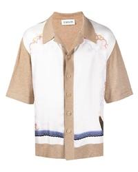 weißes bedrucktes Kurzarmhemd von Lanvin