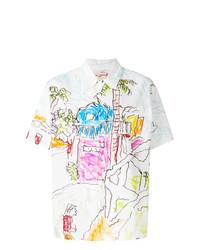 weißes bedrucktes Kurzarmhemd von Marni