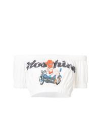 weißes bedrucktes kurzes Oberteil von Moschino