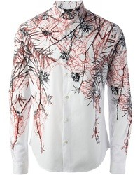weißes bedrucktes Langarmhemd