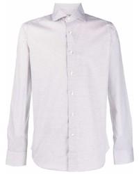 weißes bedrucktes Langarmhemd von Canali
