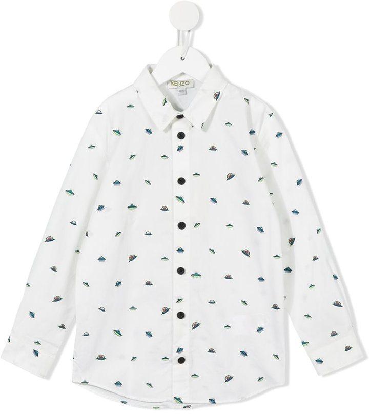 weißes bedrucktes Langarmhemd von Kenzo