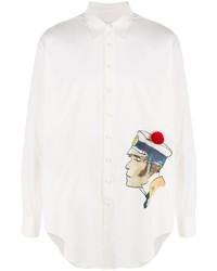 weißes bedrucktes Langarmhemd von Lanvin