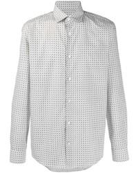 weißes bedrucktes Langarmhemd von Salvatore Ferragamo