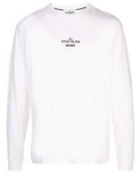 weißes bedrucktes Langarmhemd von Stone Island