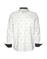 weißes bedrucktes Langarmhemd von Tom Tailor