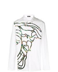 weißes bedrucktes Langarmhemd von Versace Collection