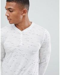 weißes bedrucktes Langarmshirt mit einer Knopfleiste von ASOS DESIGN