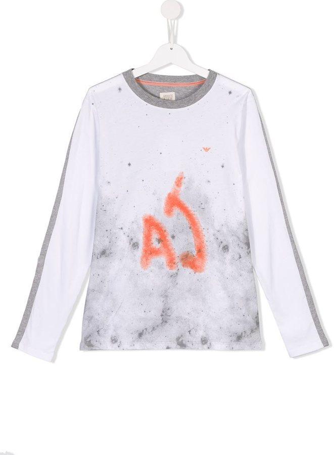 weißes bedrucktes Langarmshirt von Armani Junior