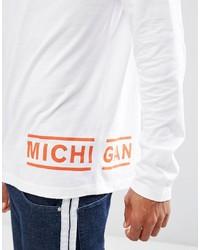weißes bedrucktes Langarmshirt von Asos