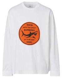 weißes bedrucktes Langarmshirt von Burberry