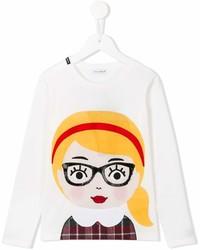 weißes bedrucktes Langarmshirt von Dolce & Gabbana