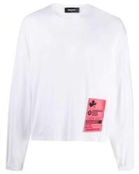 weißes bedrucktes Langarmshirt von DSQUARED2