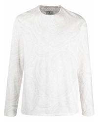 weißes bedrucktes Langarmshirt von Etro