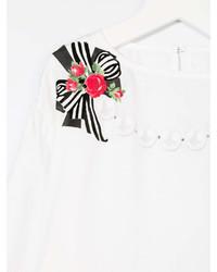 weißes bedrucktes Langarmshirt
