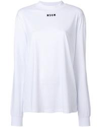 weißes bedrucktes Langarmshirt von MSGM
