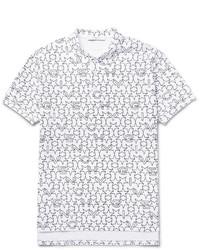 weißes bedrucktes Polohemd