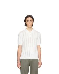 weißes bedrucktes Polohemd von Maison Margiela