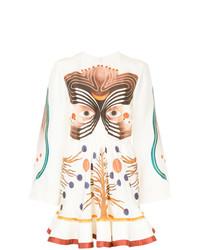 weißes bedrucktes schwingendes Kleid von Chloé