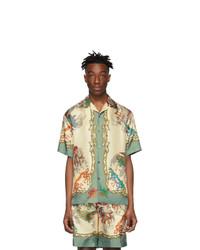 weißes bedrucktes Seide Kurzarmhemd von Gucci