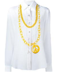 weißes bedrucktes Seidehemd von Moschino