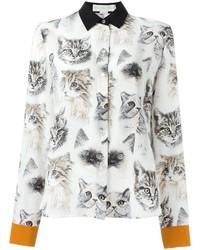 weißes bedrucktes Seidehemd von Stella McCartney