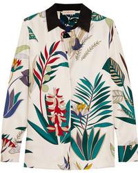 weißes bedrucktes Seidehemd von Tory Burch
