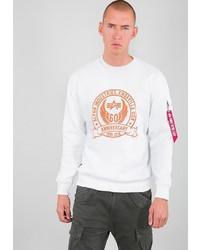 weißes bedrucktes Sweatshirt von Alpha Industries