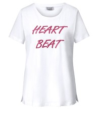 weißes bedrucktes T-Shirt mit einem Rundhalsausschnitt von Angel of Style by Happy Size