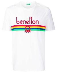weißes bedrucktes T-Shirt mit einem Rundhalsausschnitt von Benetton