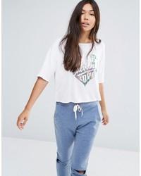 weißes bedrucktes T-Shirt mit einem Rundhalsausschnitt von Boohoo