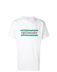 weißes bedrucktes T-Shirt mit einem Rundhalsausschnitt von Closed