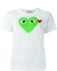 weißes bedrucktes T-Shirt mit einem Rundhalsausschnitt von Comme des Garcons
