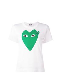 weißes bedrucktes T-Shirt mit einem Rundhalsausschnitt von Comme Des Garcons Play