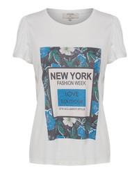 weißes bedrucktes T-Shirt mit einem Rundhalsausschnitt von Cream