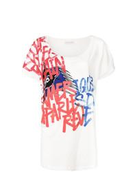 weißes bedrucktes T-Shirt mit einem Rundhalsausschnitt von Faith Connexion