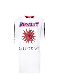 weißes bedrucktes T-Shirt mit einem Rundhalsausschnitt von Fausto Puglisi