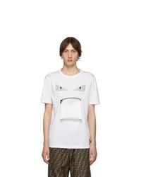 weißes bedrucktes T-Shirt mit einem Rundhalsausschnitt von Fendi