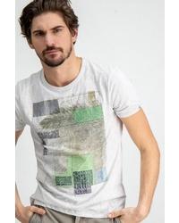 weißes bedrucktes T-Shirt mit einem Rundhalsausschnitt von GARCIA