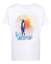 weißes bedrucktes T-Shirt mit einem Rundhalsausschnitt von Greg Lauren