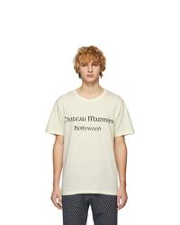weißes bedrucktes T-Shirt mit einem Rundhalsausschnitt von Gucci