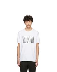 weißes bedrucktes T-Shirt mit einem Rundhalsausschnitt von Hugo