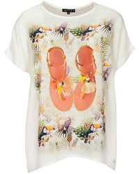 weißes bedrucktes T-Shirt mit einem Rundhalsausschnitt von JETTE
