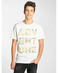 weißes bedrucktes T-Shirt mit einem Rundhalsausschnitt von Just Rhyse