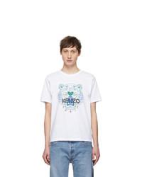 weißes bedrucktes T-Shirt mit einem Rundhalsausschnitt von Kenzo