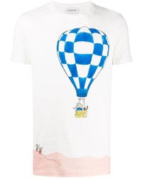 weißes bedrucktes T-Shirt mit einem Rundhalsausschnitt von Lanvin