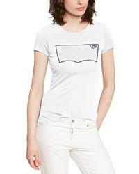 weißes bedrucktes T-Shirt mit einem Rundhalsausschnitt von Levi's