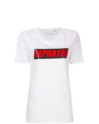 weißes bedrucktes T-Shirt mit einem Rundhalsausschnitt von Manokhi